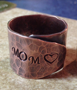 Mother Ring Copper Mother Ring Hand Stamped Wrap Ring Mom Ring
