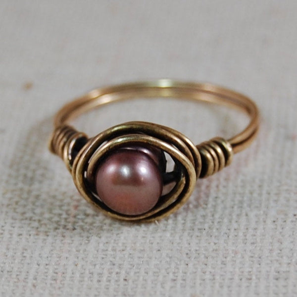 Freshwater Pearl Ring Wired Wrapped Ring Gifts for Her