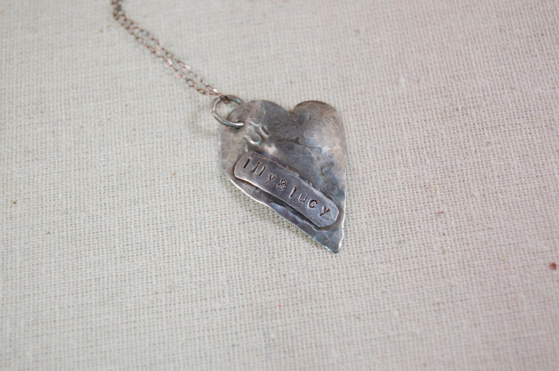 Personalized Necklace, Mother Necklace, We Love You to the Moon and Back Sterling Silver Hammered Heart