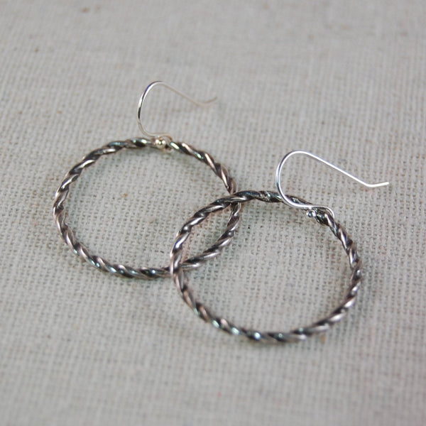 Twisted Sterling Silver Wire Earrings