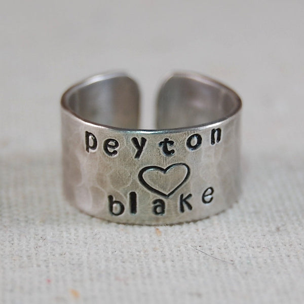 Personalized Mothers Ring Sterling Silver Hand Stamped Ring