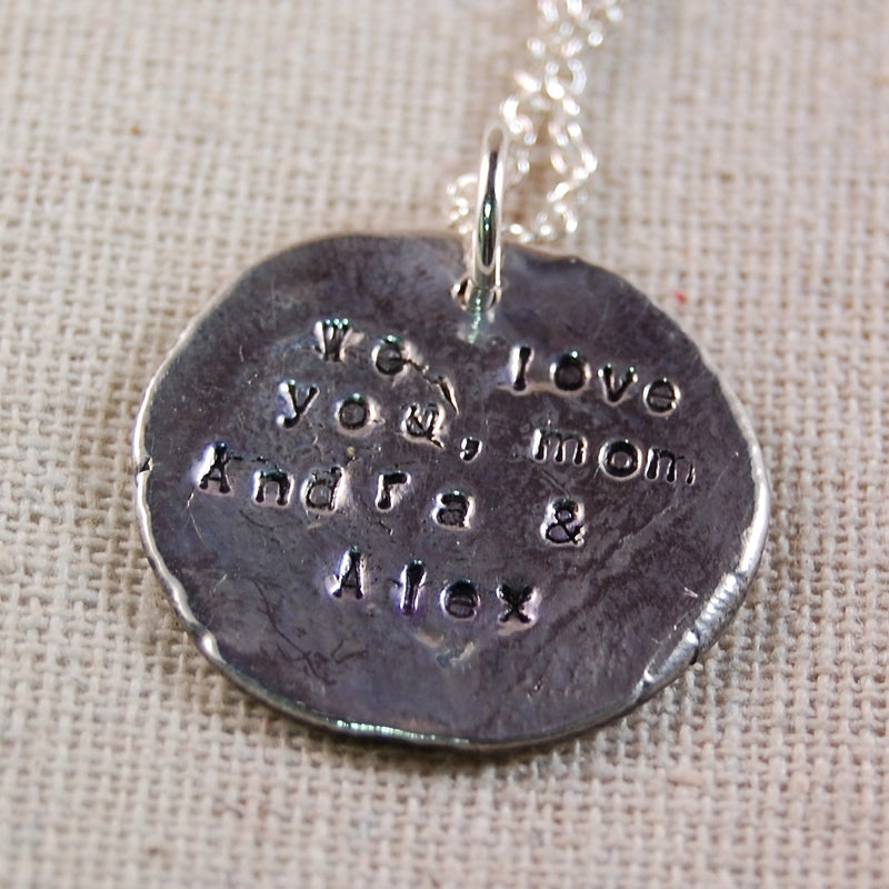Mother Necklace, Initial Necklace, PMC Metal Clay Initial Necklace, Fine Silver Necklace