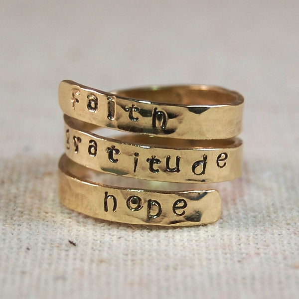 Personalized Mothers Ring 14k  Solid GOLD Wrap Ring Name Ring Mothers Ring
