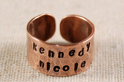 Personalized Ring Copper Mother Ring Father Ring Hand Stamped Wrap Ring