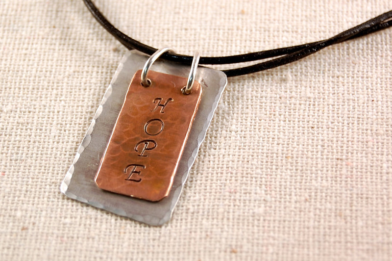 Hope Necklace, Inspiration Necklace, Copper Pedant, Sterling Silver Necklace