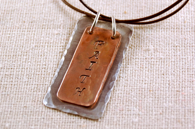 Faith Necklace, Inspiration Necklace, Copper Pedant, Sterling Silver Necklace