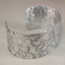 Wide Aluminum Cuff with Classic Textured Pattern
