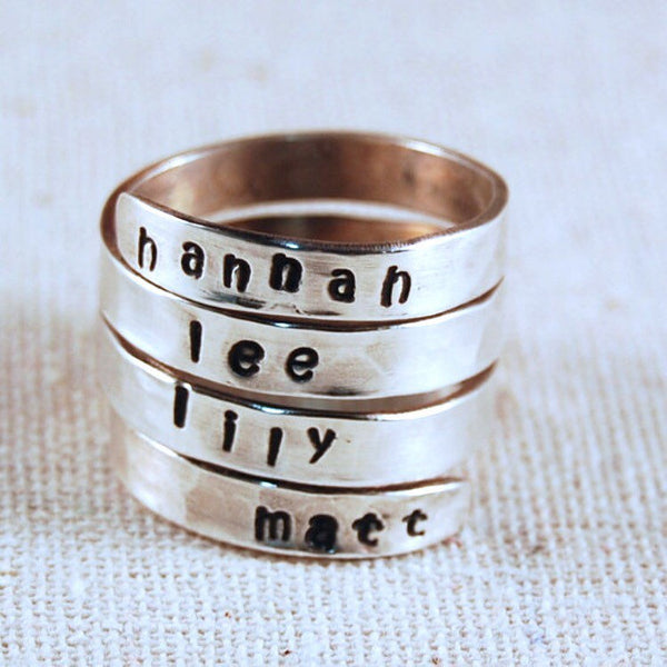 Mothers Ring for 4 Names Hand Stamped Ring Personalized Name Ring Wrap Ring Custom Ring Sterling Silver Ring