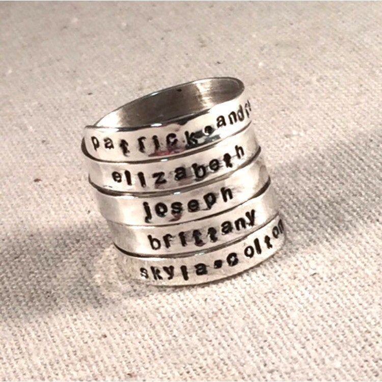 Personalized Mothers Ring, 5 Name Ring, Hand Stamped Mothers Ring, Personalized Name Ring, Wrap Ring Custom Ring Sterling Silver Ring