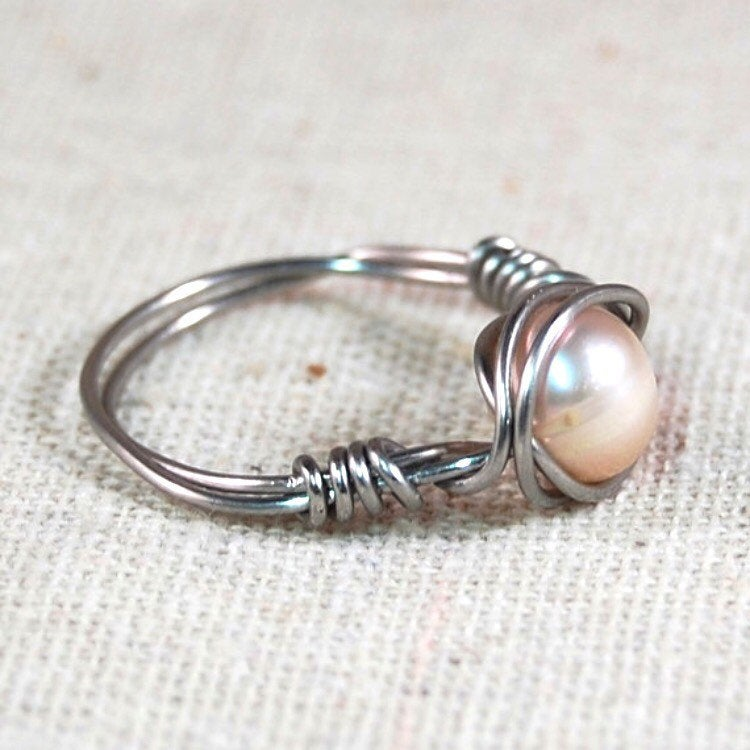 Stainless Steel Wire Wrapped Ring with Fresh Water Pearl Gift Ideas for Girlfriend Gift Ideas for Her