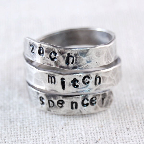 Personalized Mothers Ring Sterling Silver Handstamped Mothers Name Ring