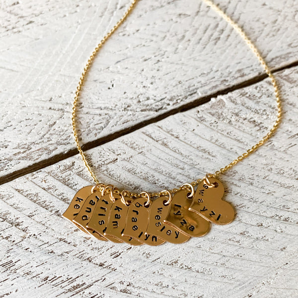 Gold Heart Charm Name Necklace