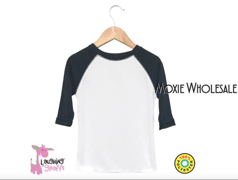 Infant Raglan Tee - White and Black 100% Polyester