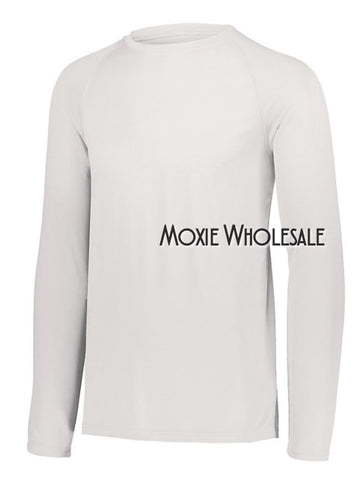 Adult Long Sleeved - High Poly Shirt - White Relaxed Adult Fit - Augusta Attain