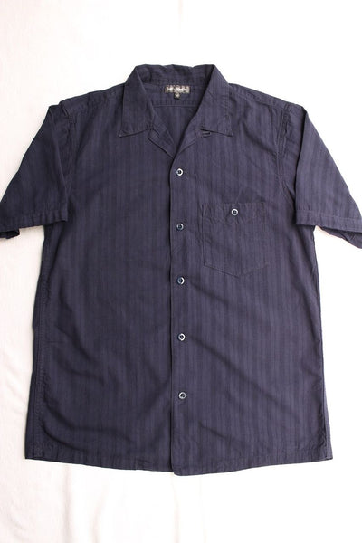 "FREEWHEELERS / ""Willie"" SHORT SLEEVE OPEN-NECKED SHIRT (#1923013,NAVY)"