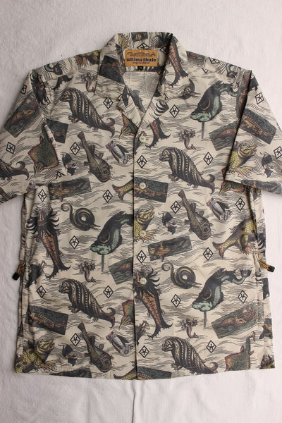 "FREEWHEELERS / ""ADVENTURE COLLECTION"" SHORT SLEEVE OPEN-NECKED SHIRT (#1823025,ANCIENT MONSTERS PRINT)"