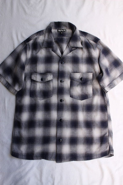 "FREEWHEELERS / ""Eddie"" SHORT SLEEVE OPEN-NECKED SHIRT (#1923014,NAVY × GRAY × LIGHT GRAY)"