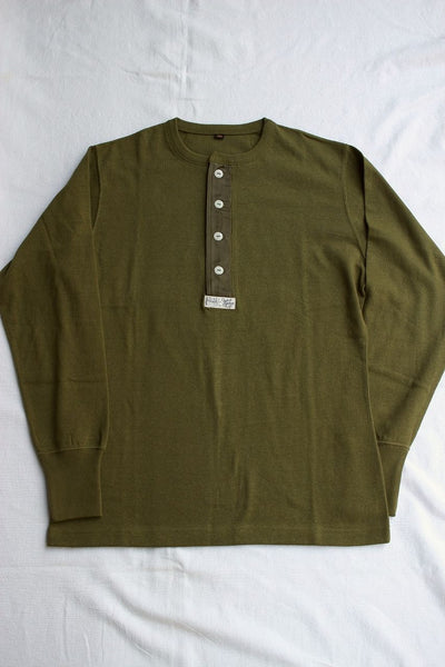 FREEWHEELERS / HENLEY NECK LONG SLEEVE SHIRT SP (#1945226,OLIVE GREEN)