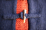 "BO'S GLAD RAGS / ""SIX NATIONS FOREST WATCHER"" TOGGLE-FRONT WOOL TWO-TONE KNIT HOODIE (K18-02,NAVY / RED DIRT)"