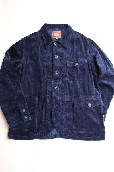 ADJUSTABLE COSTUME / INDIGO CORDUROY FRENCH WORK STYLE JACKET (AJ-102,INDIGO)