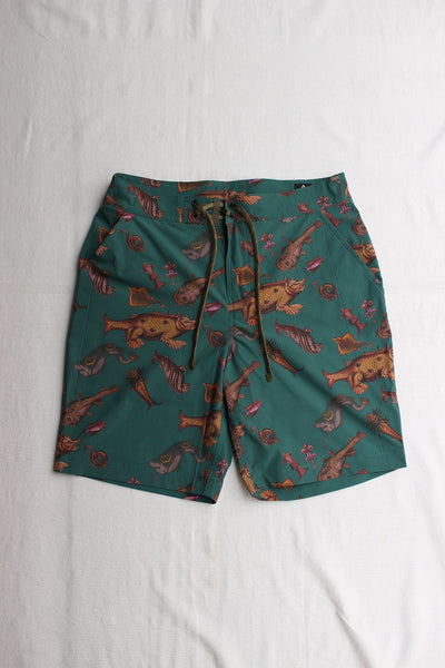 "FREEWHEELERS / ""ADVENTURE COLLECTION"" OUTDOOR SHORTS (#2022026,ANCIENT MONSTERS PRINT DEEP TEAL GREEN)"