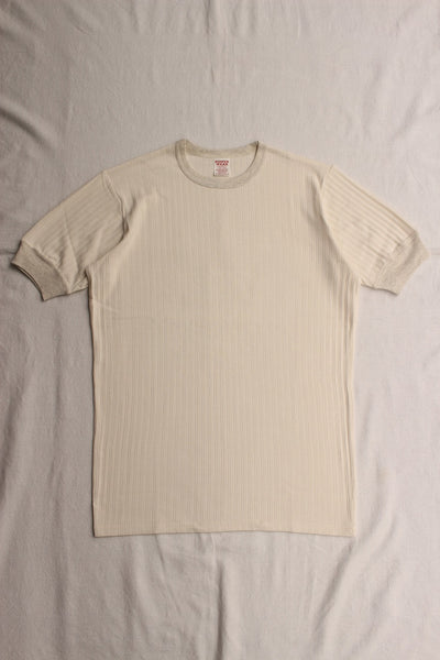 FREEWHEELERS / BROAD RIB SET-IN SHORT SLEEVE CREW NECK T-SHIRT (#2025022,OFF WHITE × OATMEAL)