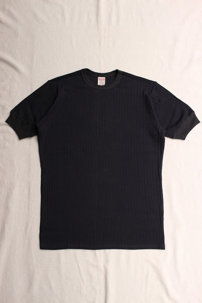 FREEWHEELERS / BROAD RIB SET-IN SHORT SLEEVE CREW NECK T-SHIRT (#2025022,FADE NAVY × CHARCOAL NAVY)