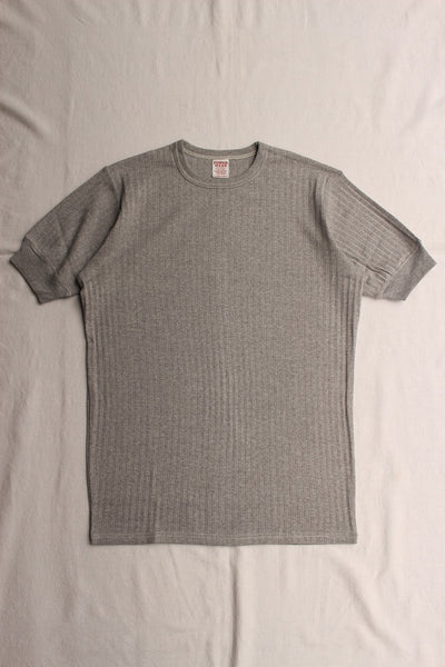 FREEWHEELERS / BROAD RIB SET-IN SHORT SLEEVE CREW NECK T-SHIRT (#2025022,MIX GRAY × MIX GRAY)