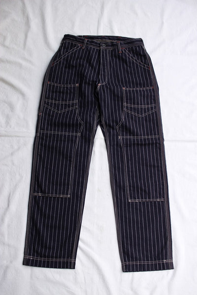 "FREEWHEELERS / ""DERRICKMAN"" OVERALLS (#2032010,NAVY NATIVE PATTERN STRIPE)"