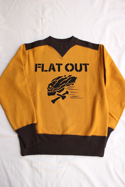 "FREEWHEELERS / ATHLETIC SWEAT SHIRT ""FLAT OUT"" (#1934001,OLD GOLD × SOOT BLACK)"