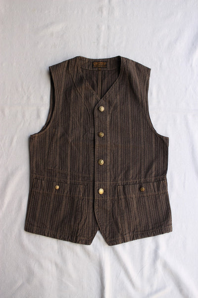 "FREEWHEELERS / ""GANDY DANCER"" VEST (#2021007,GRAINED BROWN STRIPE)"