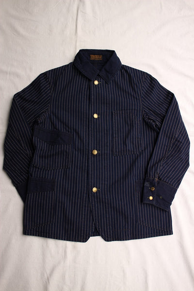 "FREEWHEELERS / ""GOLDEN SPIKE"" WORK COAT (#2011001,INDIGO WABASH STRIPE)"