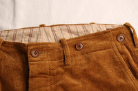 ADJUSTABLE COSTUME / HERRINGBONE PRINTED CORDUROY TROUSERS (AP-053,CAMEL)
