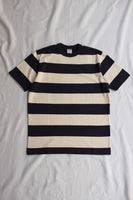 "FREEWHEELERS / ""HORIZONTAL STRIPED"" SET-IN SHORT SLEEVE T-SHIRT (#2125018,DRY CREAM × OLD NAVY)"