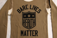 "BO'S GLAD RAGS / ""Health Shield Bare Lives Matter"" MID 1950s STANDARD TWO-TONE PRINTED THERMAL UNDERSHIRT (C20-01,KHAKI)"
