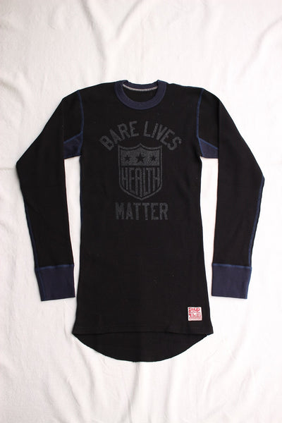 "BO'S GLAD RAGS / ""Health Shield Bare Lives Matter"" MID 1950s STANDARD TWO-TONE PRINTED THERMAL UNDERSHIRT (C20-01,BLACK)"