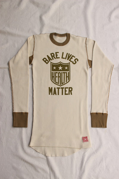 "BO'S GLAD RAGS / ""Health Shield Bare Lives Matter"" MID 1950s STANDARD TWO-TONE PRINTED THERMAL UNDERSHIRT (C20-01,GRAY BEIGE)"