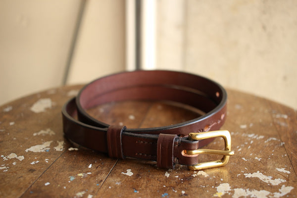 JABEZ CLIFF / STIRRUP LEATHER BELT 2cm (BROWN)