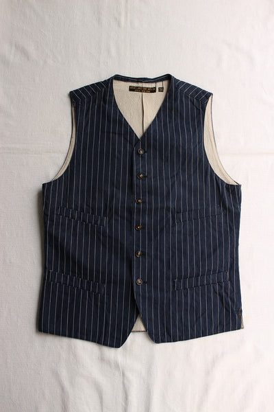 FREEWHEELERS / JOURNEYMAN VEST (#1621019,INDIGO STRIPE)
