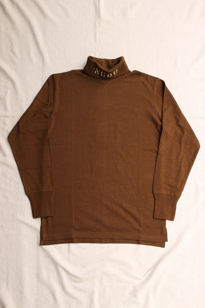 "FREEWHEELERS / ""N.C.D.U. 7TH NBB"" TURTLENECK LONG SLEEVE SHIRT (#2035003,BROWN)"