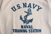 "FREEWHEELERS / SET-IN CUT-OFF SLEEVE SWEAT SHIRT ""NAVAL TRAINING STATION"" (#2024002,OATMEAL)"