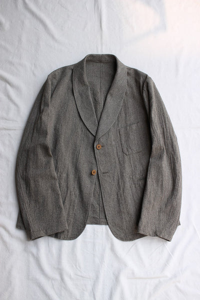ADJUSTABLE COSTUME / COTTON LINEN HERRINGBONE SHAWL COLLAR JACKET (AJ-120-C,OLIVE)