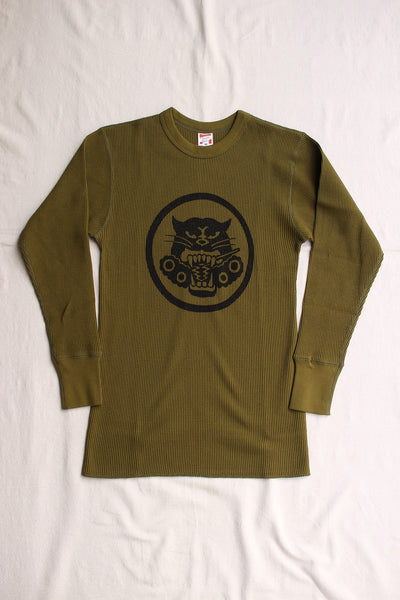 "FREEWHEELERS / ""U.S.ARMY TDB 801st SQ"" CREW NECK THERMAL LONGSLEEVE SHIRT (#2035001,OLIVE)"