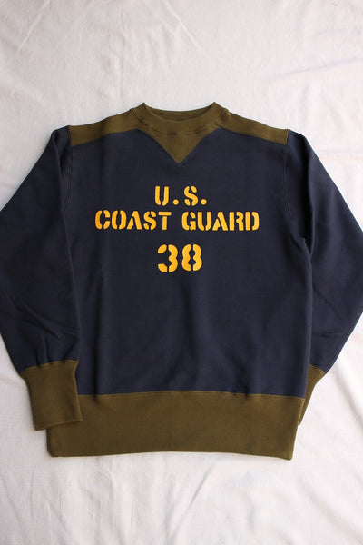 "FREEWHEELERS / ATHLETIC SWEAT SHIRT ""U.S. COAST GUARD"" (#1934002,OLD NAVY × OLIVE)"