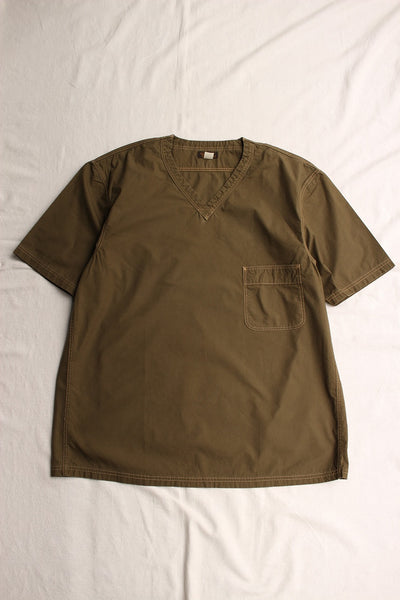 FREEWHEELERS / V NECKED PULLOVER SHORT SLEEVE SHIRT (#1723013,OLIVE)