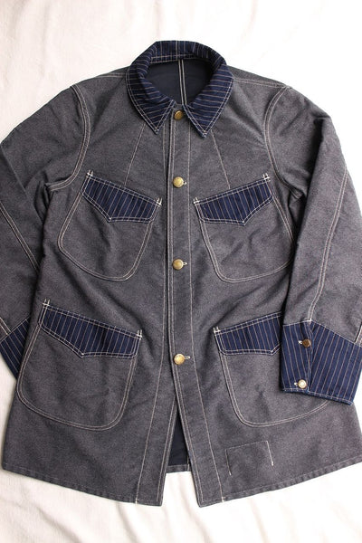 "FREEWHEELERS / ""KING SNIPE"" JACKET (#1921010,NAVY IRONCLAD STRIPE × INDIGO WABASH STRIPE)"