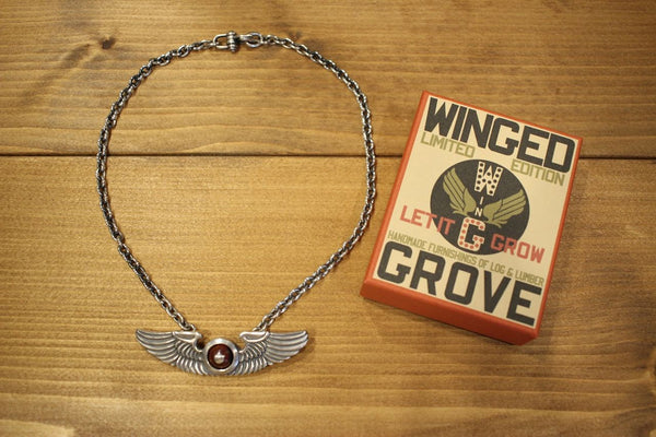 "BO'S GLAD RAGS / WINGED GROVE ""WING & CHAIN PENDANT"" (A18-02M,Stg.Silver / Wooden Gem ""Cocobolo"")"