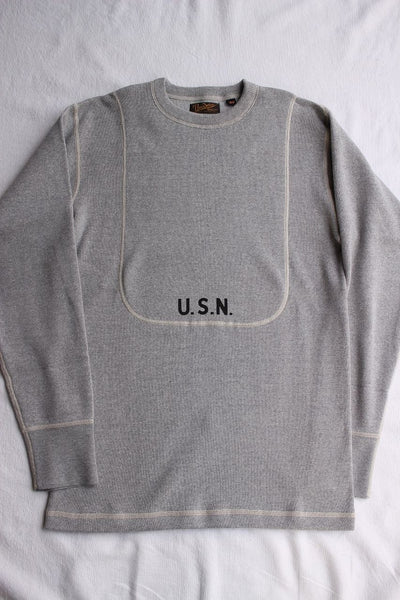"FREEWHEELERS / CREW NECKED DOUBLE CHEST TYPE LONG SLEEVE SHIRT ""USS LAKESTER"" (#1835005,MIX GRAY)"
