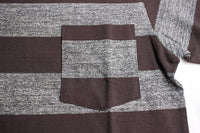 FREEWHEELERS / HORIZONTAL STRIPED T-SHIRT with POCKET (#1825018,MIX GRAY×JET BLACK)