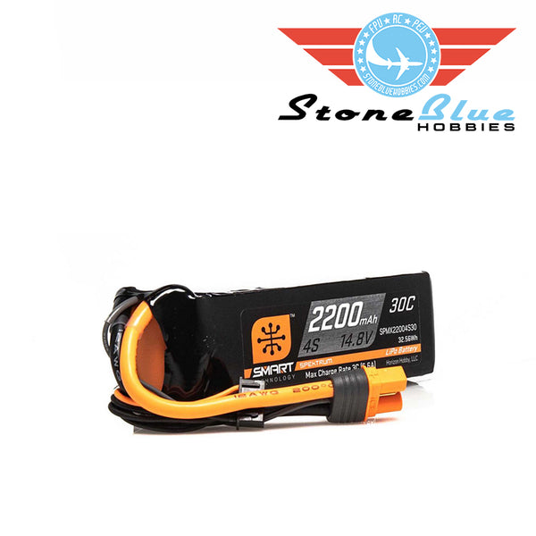 Spektrum 14.8V 2200mAh 4S 30C Smart LiPo Battery, IC3